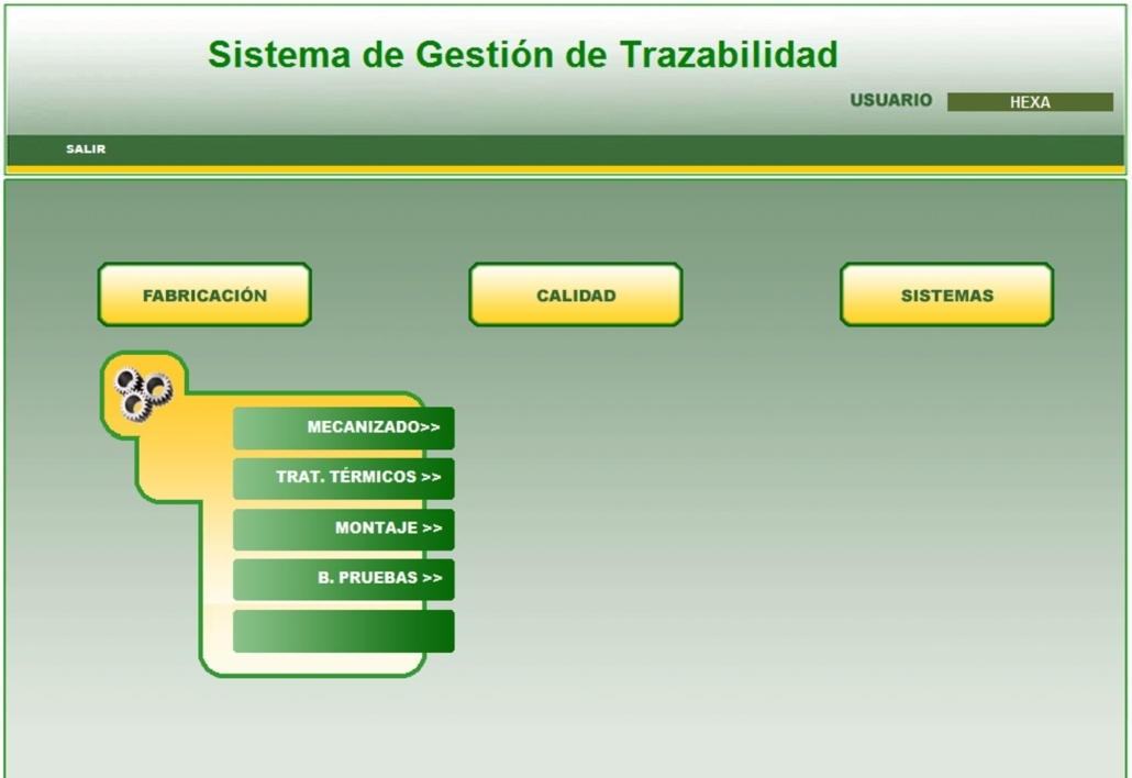 Traceability system other industry Main menu